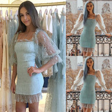 Women Sexy Puff Sleeve Bodycon Dress Evening Party Pencil Dresses Solid Summer Elegant Short Mini