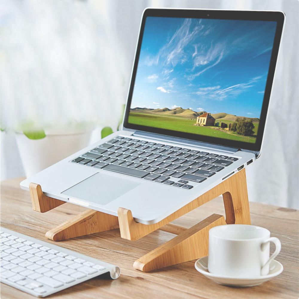 "Laptop Holder Keyboard Detachable Desk Stand Wooden Mount Foldable Portable for Apple Macbook Tablet PC Notebook 15"" 17""|Tablet Stands| |  - title="