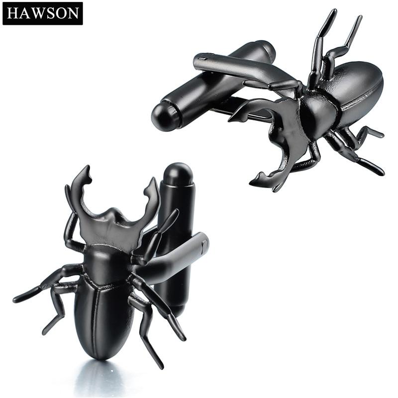 Retailed Animal Beetle Cuff links for Mens Shirt Sharp Leg Black Metal Cufflinks Gift for Boy