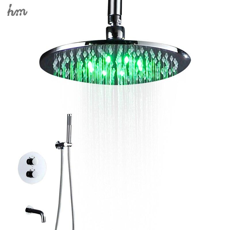 Лидер продаж термостатический светодиодный душ 10 дюйм(ов) круглый Насадки для душа латунь Chrome поверхность с горкой бар ручной душ