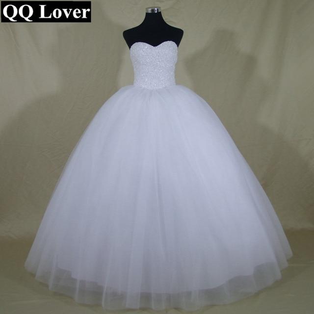 QQ Amante 2017 Robe De Mariage Princesa Que Bling Bling Do Luxo cristais Branco Bola Vestido de Noiva Vestido Custom Made Vestido De Noiva