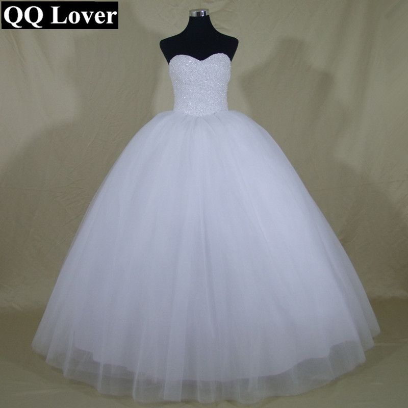 Princess Bling Luxury Pearls Or Crystals White Wedding Dress Gown 2015 Bridal Wedding Gown Vestido De