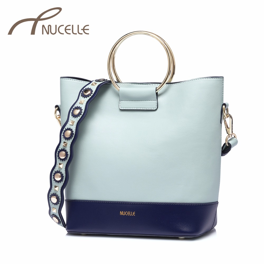 NUCELLE Women's PU Leather Handbag Ladies Fashion Rivet Shoulder Belt Tote Purse Female Patchwork Bucket Messenger Bag NZ4141