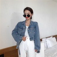 Streetwear Turn Down Collar Slim Jacket Women Fashion Long Sleeve Pockets Slim Denim Coat Floral Loose Short Jackets