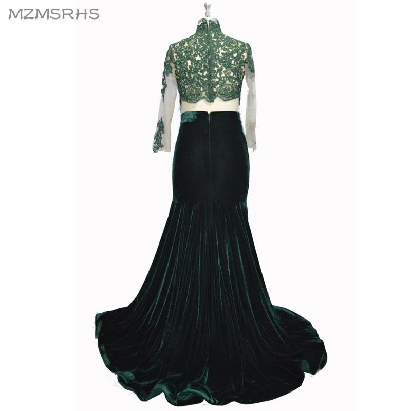 MZMSRHS Dy pjesë të rrobave prom me mëngë të gjata me aplikime - Fustane për raste të veçanta - Foto 2