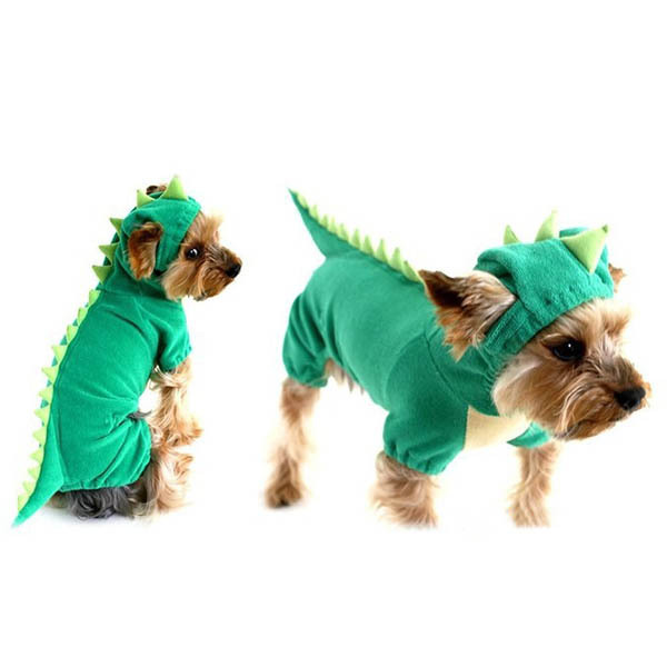 getSubject() aeProduct.  sc 1 st  AliExpress.com & New Dogs Pets Puppy Green Dinosaur Hooded Clothes Jumpsuit Coat ...