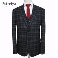 Custom made high quality men woolen plaid tweed suit mens customized Wedding suit coustume homme slim fit clothing tailored suit