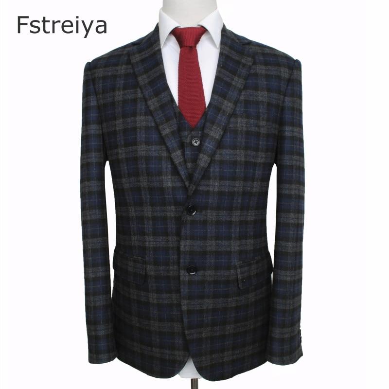 Personnalisé de haute qualité hommes laine plaid tweed costume hommes personnalisé costume de mariage coustume homme slim fit vêtements costume sur mesure