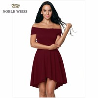 NOBLE WEISS Elegant White/Black Party Dress High/Low Prom Gowns Short Sleeves Sexy In Stock Prom Dress Free Shipping