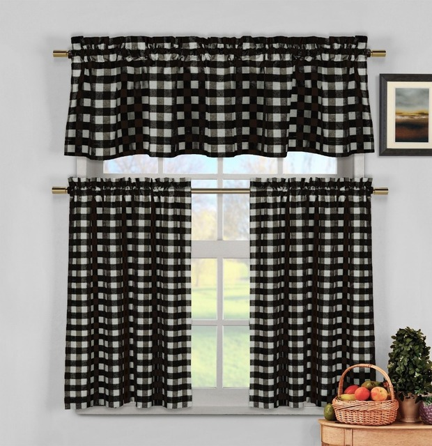 Black White Gingham Checkered Plaid Kitchen Tier Curtain Valance Set