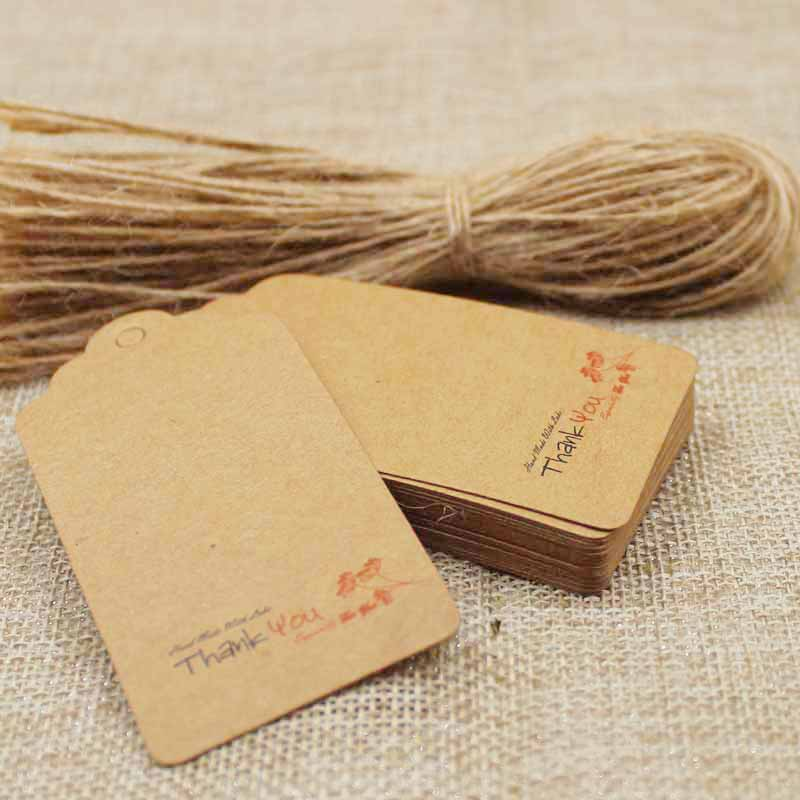 2018 new brown color Diy paper thank you gift hang tag for candy /wedding favors products pack label tag 200pcs+200 hemp string