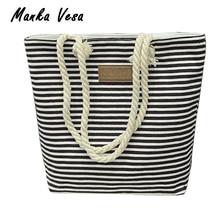 Manka Vesa Leisure Canvas Shopper Bag Striped Prints Beach Bags Tote Women Ladies Shoulder bag Casual Shopping Handbag Bolsa