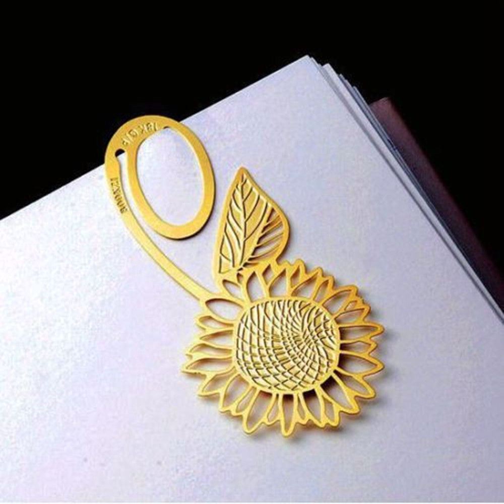 Sunflower Gold Metal Clip Bookmark Reading Magazine Paper Label Book Mark Hot