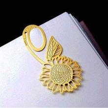 Sunflower Gold Metal Clip Bookmark Reading Magazine Paper Label Book Mark Hot