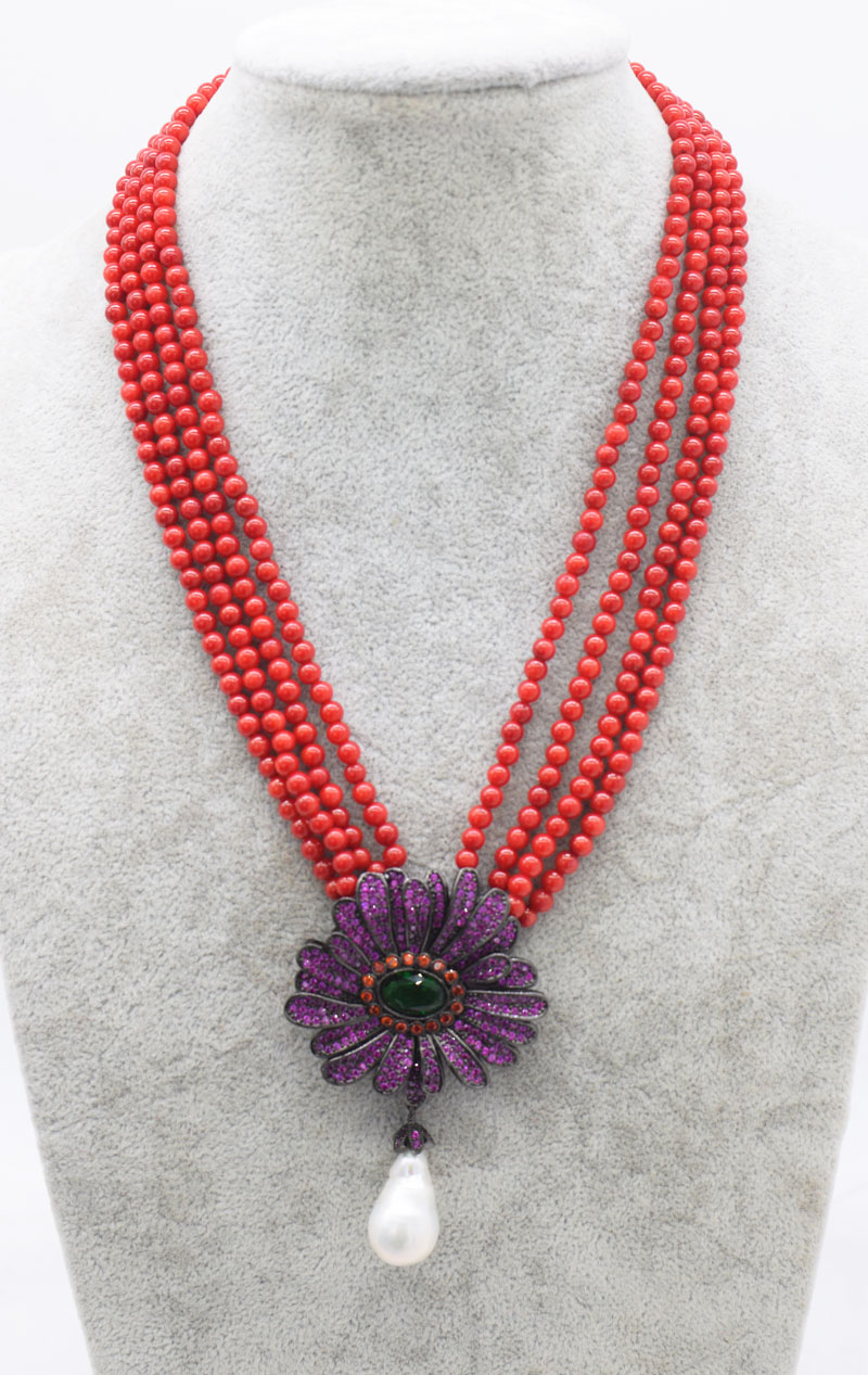 4rows freshwater pearl baroque and pink/orange coral round  necklace& red flower zircon  17inch FPPJ wholesale beads nature 4rows freshwater pearl baroque and pink/orange coral round  necklace& red flower zircon  17inch FPPJ wholesale beads nature