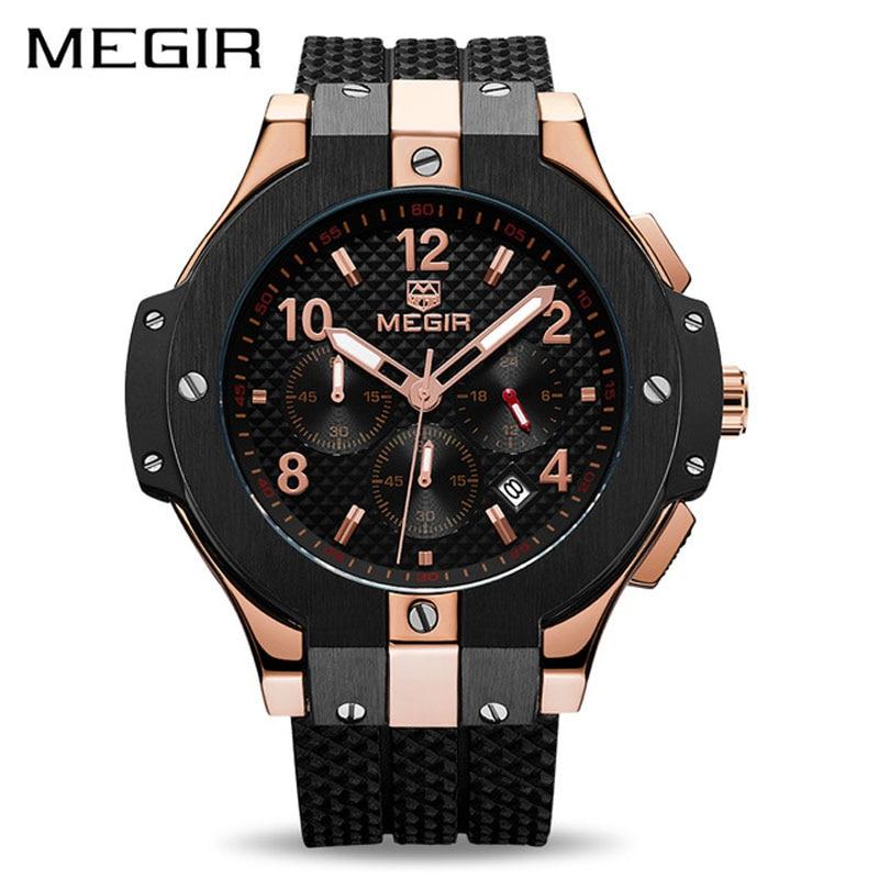 MEGIR Chronograph Sport Watch Men Creative Army Military Quartz Watches Clock Men Wrist Watch Hour Relogio Masculino 2050 цена и фото