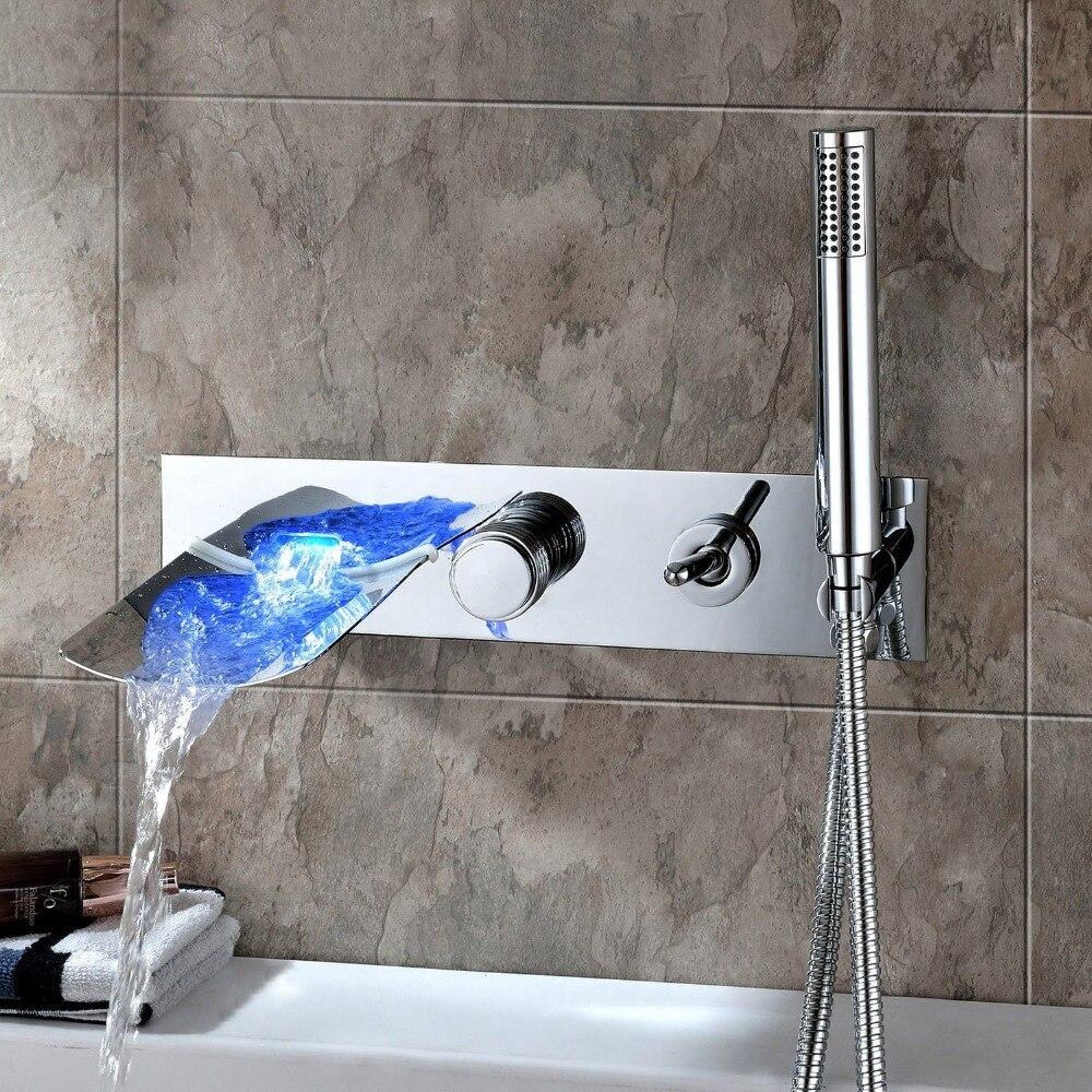 Нет необходимости Батарея поток воды питание свет Роскошный водопад Для ванной смесители современные настенные Смесители для ванны