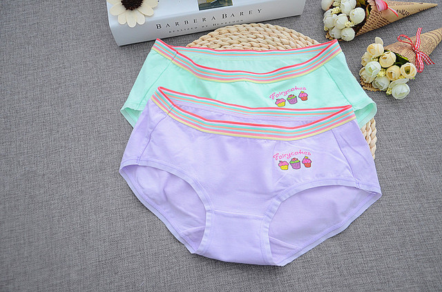 26d6cc22403b 4 Pcs Packed Cake High Elastic Cotton Girl Women Briefs Panties Underpants  Lingerie Underwear S/