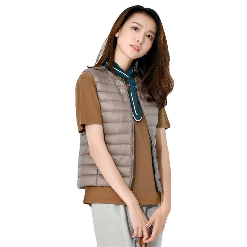 90% White Duck   Down   Vest 2019 Women's Ultra Light Sleeveless Short   Down   Jacket Autumn Winter Thin Slim   Down     Coat   Portable Tops