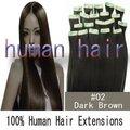 26 pulgadas 66 cm natural del pelo del pelo humano extensiones remy del pelo humano #2 de color marrón oscuro 70 gram/set head set completo