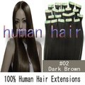 26inch 66cm natural human hair long Tape remy Human Hair Extensions #2 dark brown color 70gram/set full head set