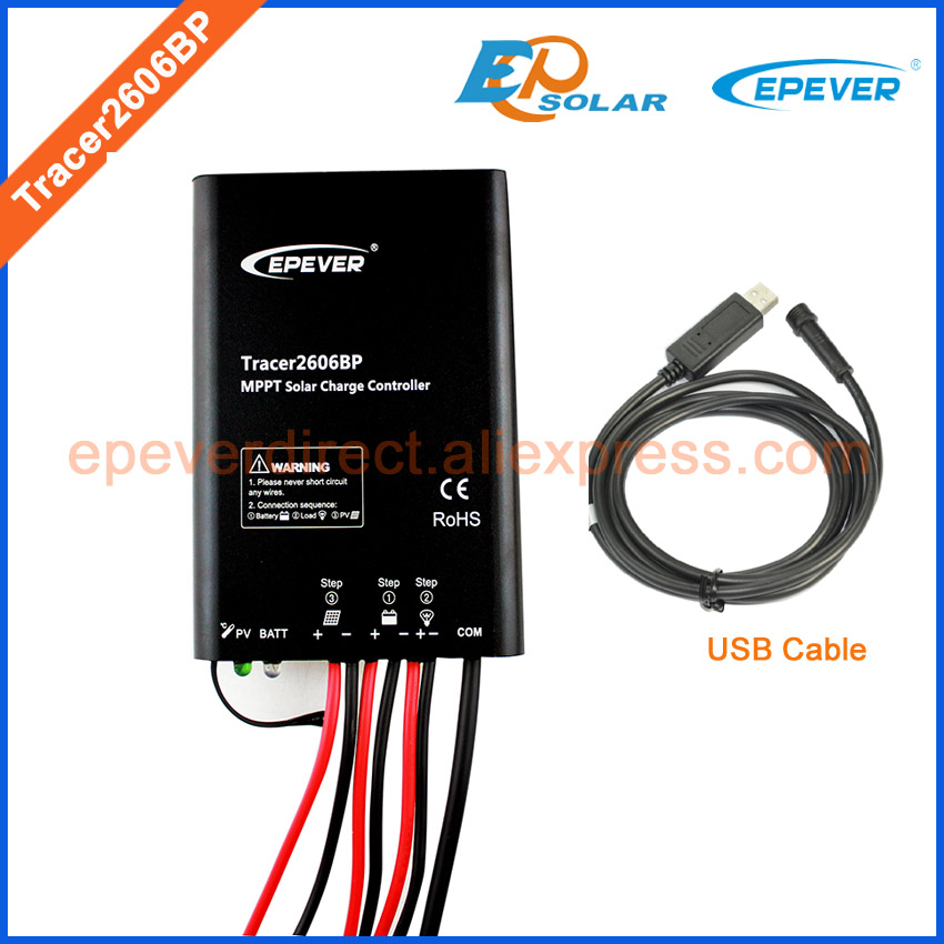 EPsolar EPEVER 2017 new product solar panel system controller with USB cable connect PC Tracer2606BP 10A 10amp free shipping home mppt solar portable controller epsolar 10a 10amp tracer1215bn with mt50 meter and usb pc cable connect software