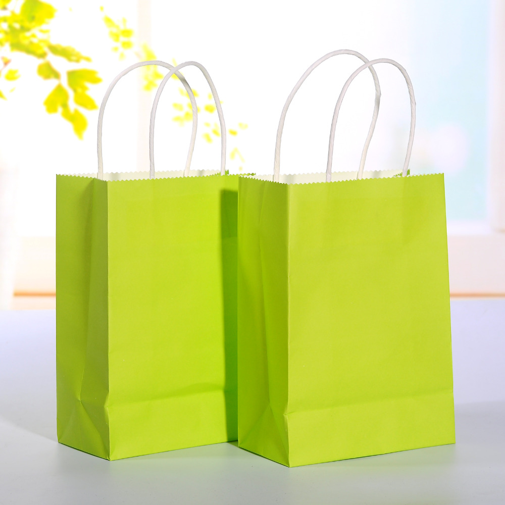 Wedding Paper Gift Bags: 40pcs/lot Bright Green Kraft Paper Bag With Handle Wedding