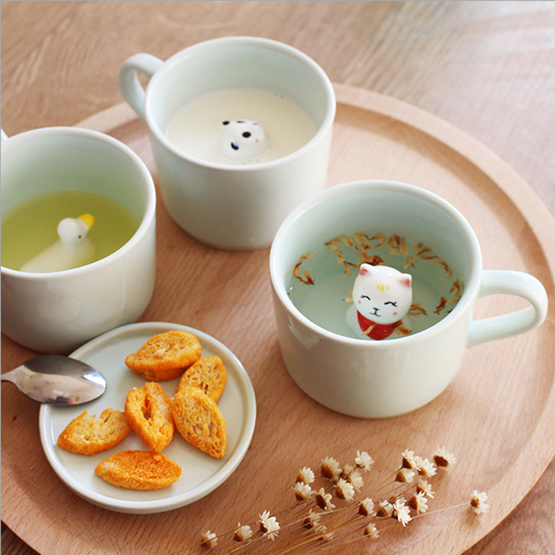 Small animal ceramic cup milk mug cute cartoon three-dimensional coffee cup Heat-resistant Celadon cups Children's gift for kids