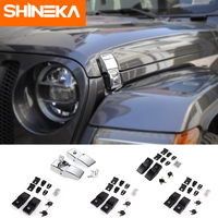 SHINEKA Car Engine Lock Cover For Jeep Wrangler JL 2018+ Car Lock Hood Latch Catch With Key Kit for Jeep Wrangler JL Accessories