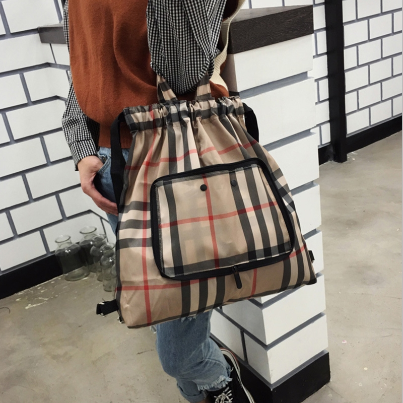 2019 NEW printed shoulder bags for women drawstring printing bag waterproof women's backpack beading flower schoolbag stripes(China)