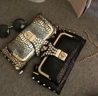 Women Purses And Handbags Leather Diamonds Chains Gold black Fashion Serpentine Clutch Wallets Evening Bags
