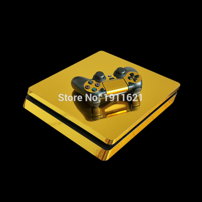Classical Golden Chrome Decal Skin For PS4 Slim Console Cover For Playstation 4 PS4 Slim Skin Stickers+ Controller Protective