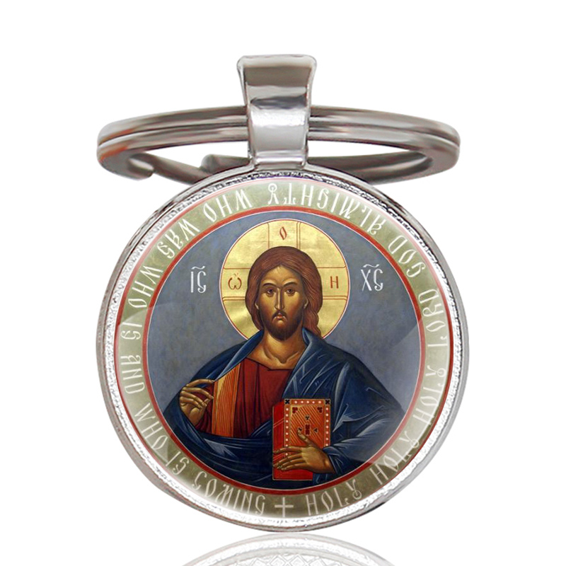 Vintage Classic Orthodox Christianity  Art Glass Cabochon Key Chains Classic Men Women Silver Key Rings Handmade Keychains Gifts