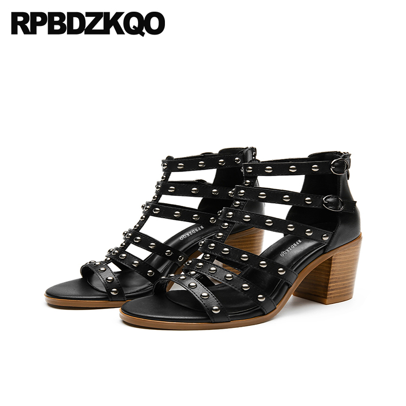 Thick Chunky High Heels Rivet Summer Sandals Black Women Gladiator Roman Ankle Strap Square Rock Stud Shoes Pumps Ladies Strappy summer new pointed thick chunky high heels closed toe pumps with buckle ankle wraps sweet sandals women pink black gray 34 40