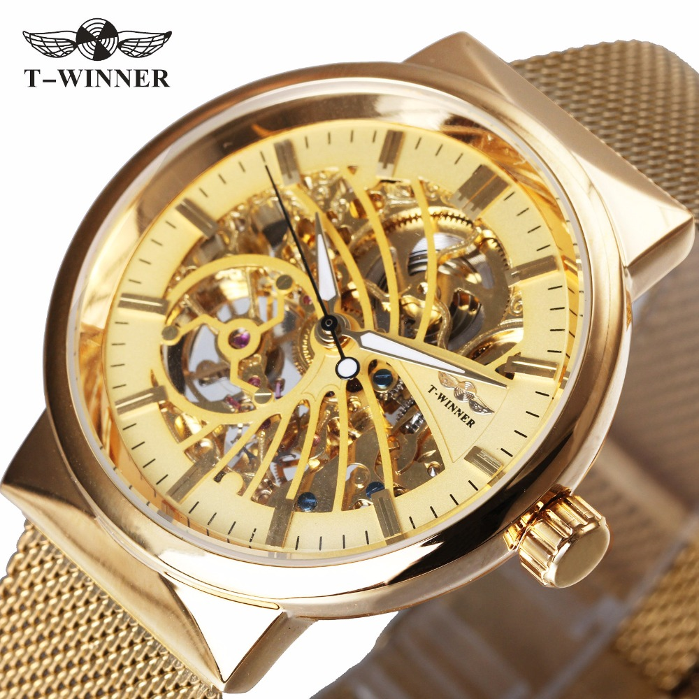 WINNER Luxury Ultra Thin Golden Men Auto Mechanical Watch Mesh Strap Bird Pattern Skeleton Dial Top Fashion Style Wristwatch round tea 7 set 1400 seven yunnan tea cakes cooked tea cooked cake pu er tea special grade