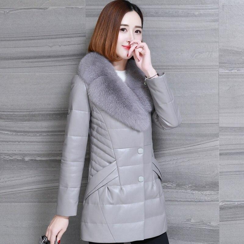 Vers Femmes Grande Hiver Cuir Femme Le red Bas Nouvelle Chaud gray En Mode Long Véritable Black Taille Tn046 Veste xCqY5P50w