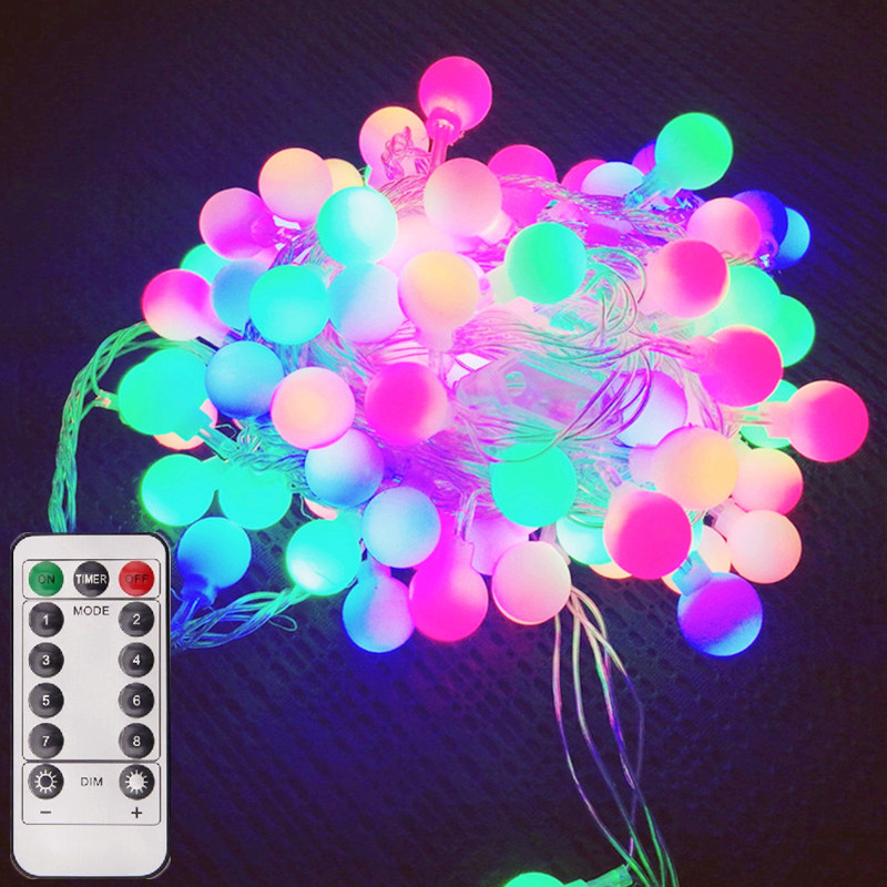 8 Modes LED Ball String Light 5V DC USB Power Outdoor Christmas Garden Party Decor Light String Lamp Waterproof Battery Operated
