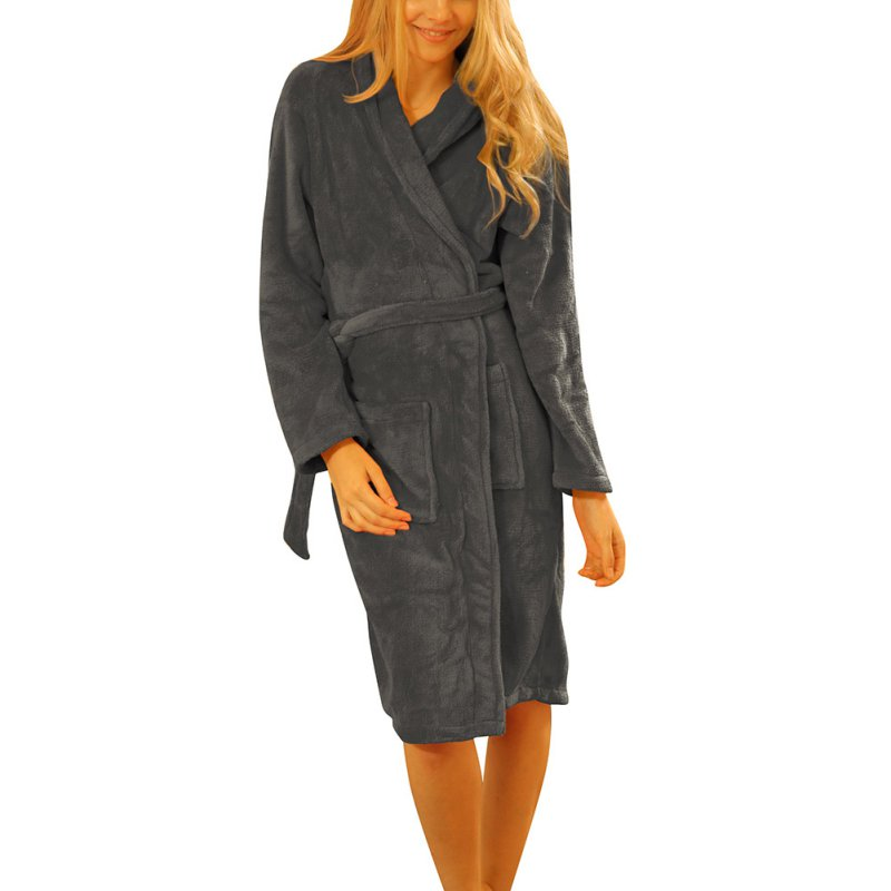 65056dbfc6 Detail Feedback Questions about Ladies Coral Fleece Long Night robe  Sleepwear Shawl Collar Bathrobe Spa Clothes S72 on Aliexpress.com