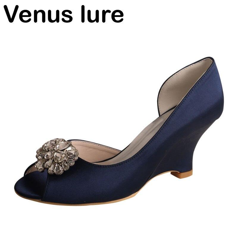 Peep Toe Navy Blue Wedding Shoes For Bride Women Wedge