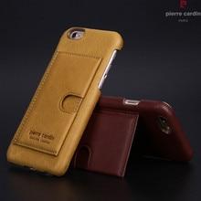 Оригинальный Pierre Cardin чехол для iPhone 6 6S плюс Роскошный натуральная кожа чехол держателя карты Чехол сотовый телефон случаях сумка для iPhone 6