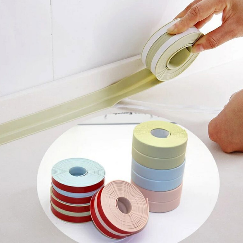 Kitchen Sink Joint Crevice Corner Line Sticking Strip Adhesive Tape 3Colours Foldable Waterproof Mildew Proof PVC
