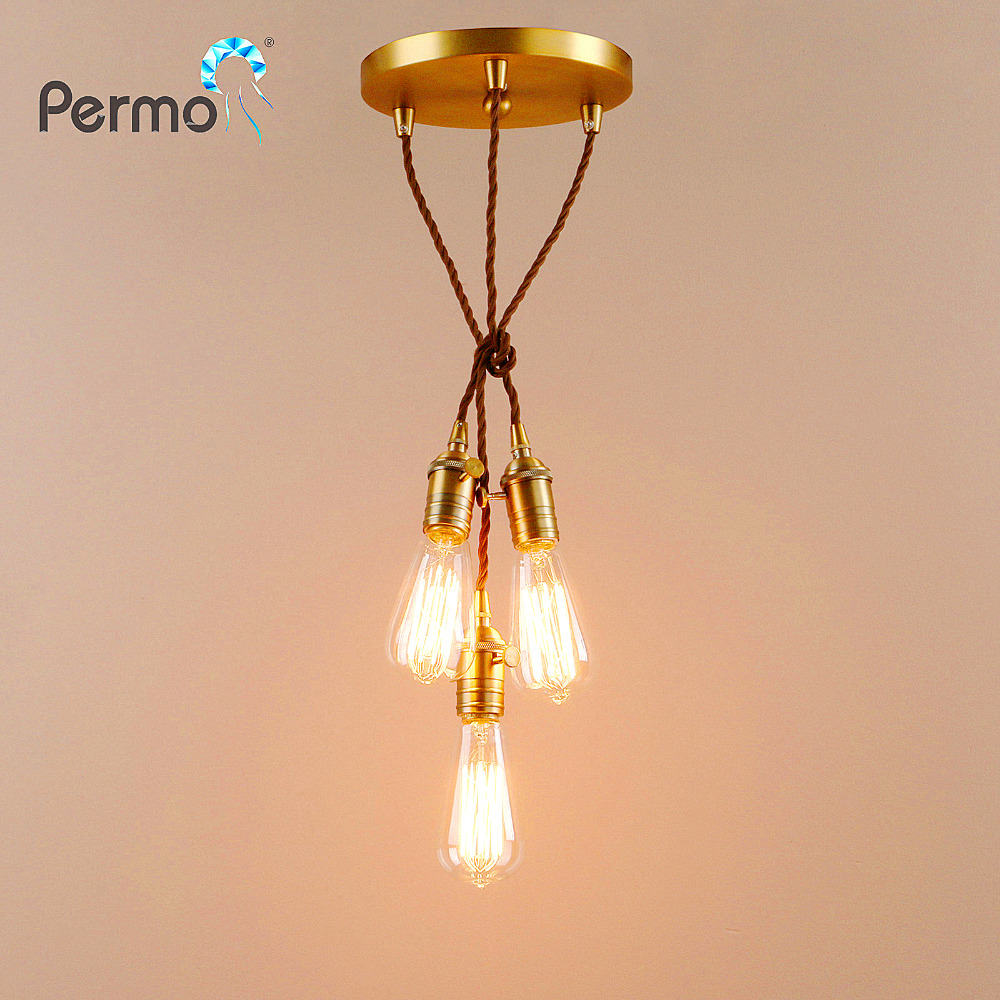 PERMO Vintage Rope Pendant Lights Loft Industrial Pendant Ceiling Lamps Modern Hanglamp Luminaire Lights Fixture