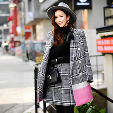dabuwawa woolen coat female women's 2016 autumn and winter fashion slim casual black and white plaid jacket pink doll