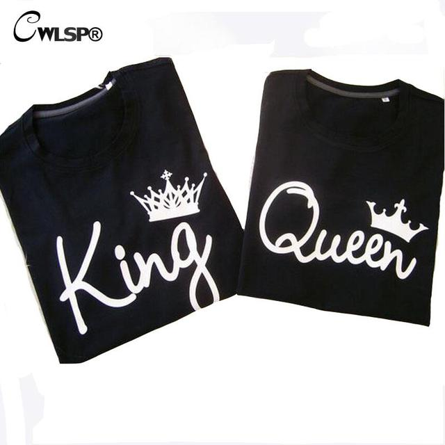 d180ea3287ac CWLSP 2018 King Queen Female T-shirt Crown Printing Couple Clothes Lovers Tee  Tops Femme Summer T-shirt Casual O-neck QZ3200