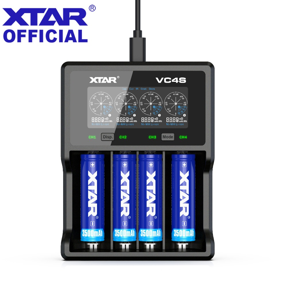 2019 Newest Charger XTAR VC4S QC3.0 Fast Charging 5V 2.1A EU PLUG Micro USB Charger 3.7V 1.2V AA AAA 18650 Battery Charger VC4 S