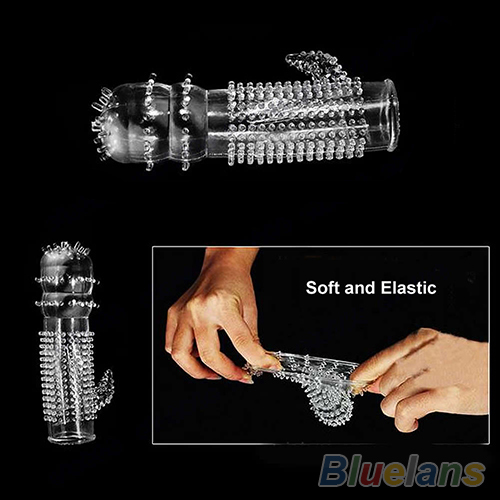 New Hot Reusable Full Cover Penis Sleeve Ring Delay Impotence Erection Condoms for Sex Adult Men 031X 2WXR in Condoms from Beauty Health