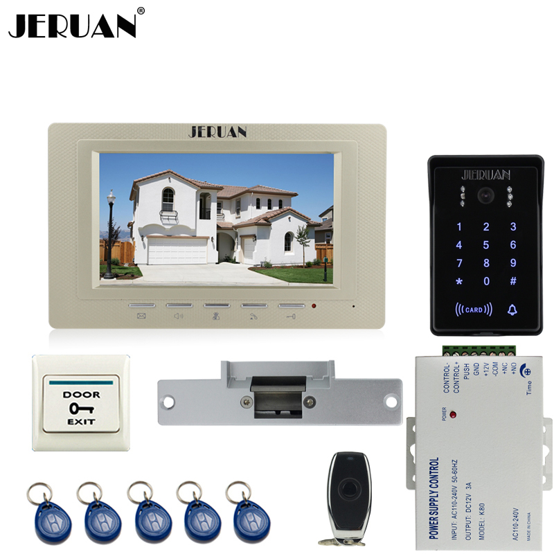 JERUAN 7`` video door phone intercom system Kit RFID waterproof touch key password keypad access camera + power +remote control jeruan wired 7 touch key video doorphone intercom system kit waterproof touch key password keypad camera 180kg magnetic lock