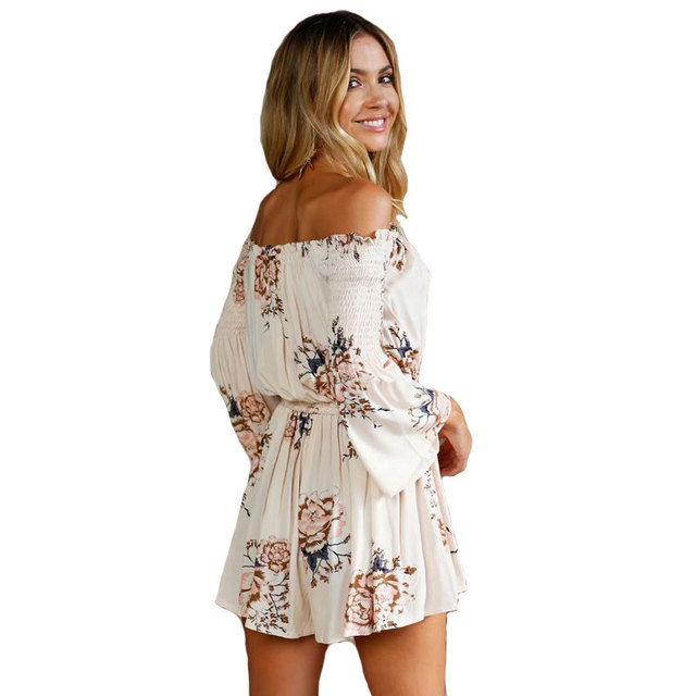 1f59cedb4a Off Shoulder Beach Boho Gypsy Hippie Chic Women s Playsuit Summer Floral  Printed Flare Sleeves Holiday Female Jumpsuit Romper