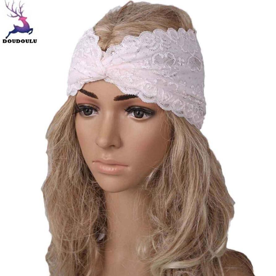 DOUDOULU Lace floral headbands for women bohemian Wide Elastic Turban Hair Band hair accessories Headwrap head bands 2018 #WS