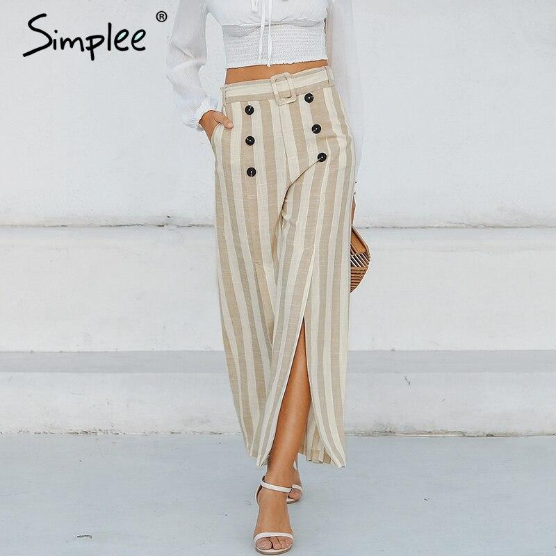 Simplee Striped split sash casual   pants   women Elastic high waist wide leg button linen trousers Elegant female spring   capris